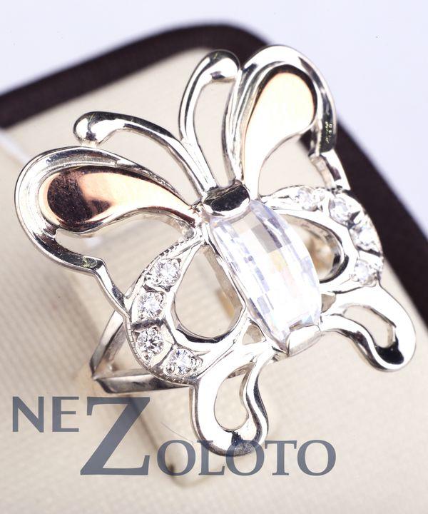 кольцо с фианитом из серебра