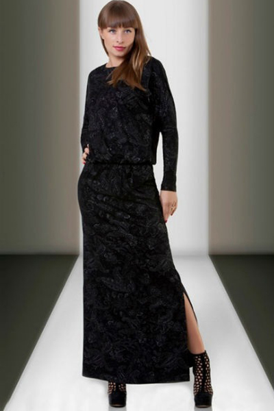 платье с разрезом бархат
