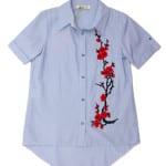 Рубашка короткий рукав для девочки Ветка сакуры Kas Kids