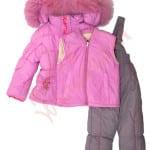 Костюм куртка и полукомбинезон зимний для девочки Цветы Арт. 7001