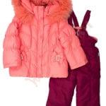 Костюм куртка и полукомбинезон зимний для девочки с опушкой Бантики с камнями Donilo