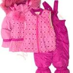 Костюм куртка и полукомбинезон зимний для девочки с опушкой и меховой подстёжкойСердечки (Китай)