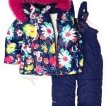 Костюм куртка и полукомбинезон зимний для девочки с опушкой и меховой подстёжкойЯркие цветы Крош
