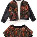 Костюм пиджак и юбка для девочки и кофта Цветы Unsea