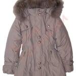 Пальто зимнее для девочки с опушкой Пряжки на рукавах Арт. 8-32