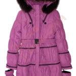 Пальто зимнее для девочки с опушкой и перчатки Чёрные полоски Biko&Kana