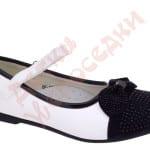 Туфли школьные для девочки на липучке Бантик с камнями Шалунишка Арт. 7207