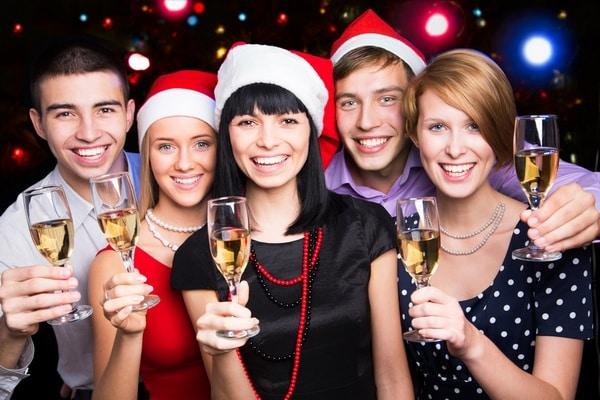 Happy friends wishing you Merry Christmas